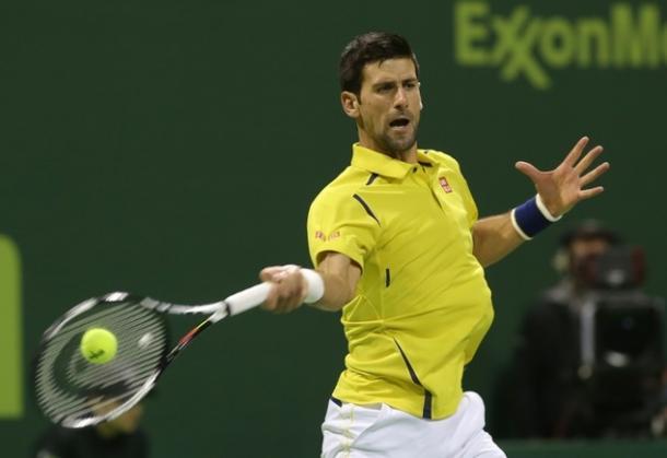 Novak Djokovic hits a forehand at the 2016 Qatar ExxonMobil Open in Doha/Getty Images: Karim Jaafar