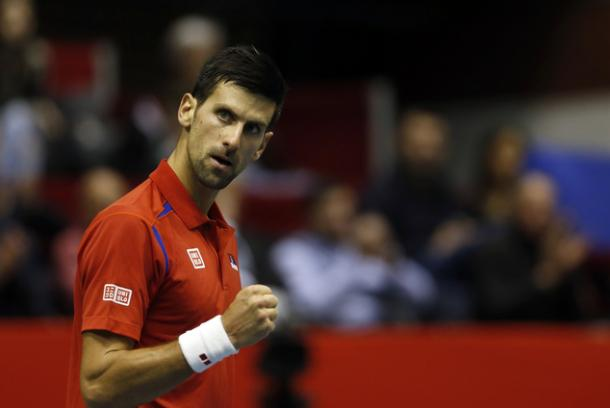 Djokovic fist pumps during Davis Cup. Photo: AP/Darko Vojinovic