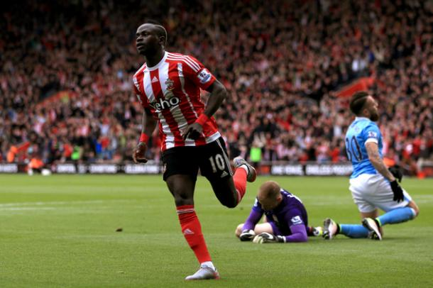 Mane wheels away in celebration during his hat-trick against City last weekend | Photo: Getty Images