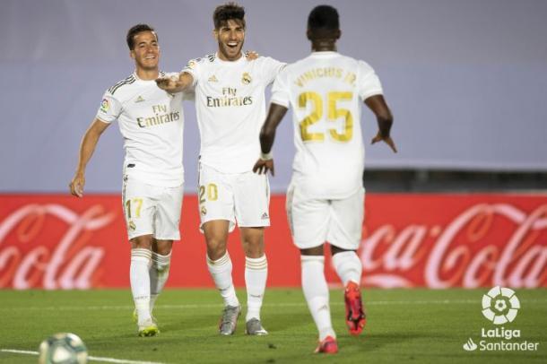 Asensio celebra el gol frente al Alavés de la temporada pasada. Fuente: La Liga