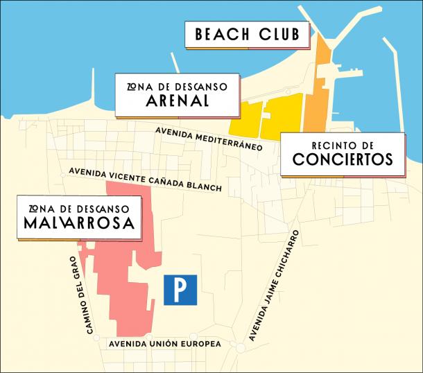 Plano del recinto del festival Arenal Sound/Fuente: Arenal Sound
