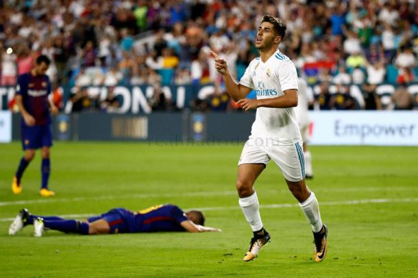 Asensio festeja su golazo al Barça en la Supercopa I Foto: Real Madrid
