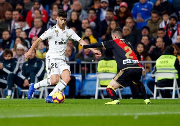 Asensio frente a un defensor del Rayo I Foto: Real Madrid