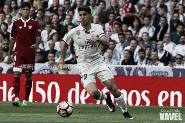 Asensio contra el Sevilla en la Supercopa de Europa I Foto: Daniel Nieto (VAVEL)