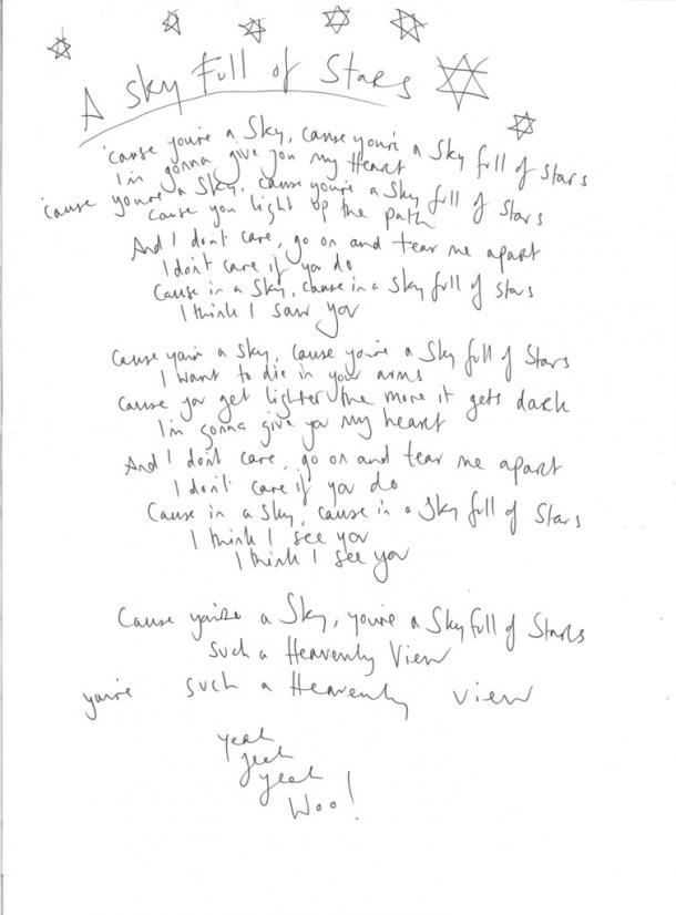 La página web de Coldplay dispone de letras escritas de la mano de Chris Martin   Fuente: Web Oficial