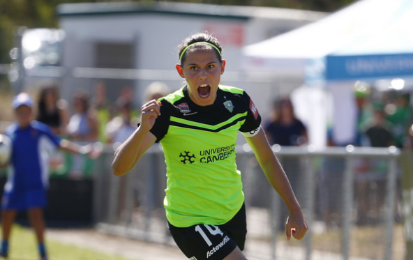 Ashleigh Sykes celebrates scoring for Canberra (Source: Daniel Munoz/Getty Images AsiaPac)