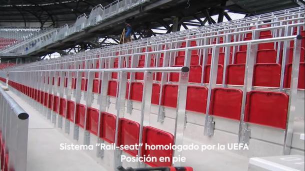Así serán los asientos de pie. Foto: Muro Rojo