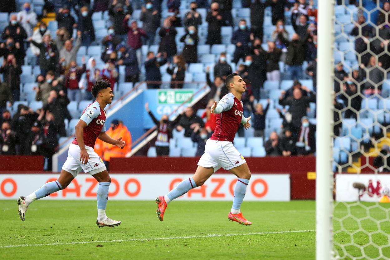 El-Ghazi en la celebración de su gol / Foto: Premier League