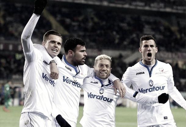 Celebración del gol del empate de Ilicic. Fotografía del perfil de Twitter oficial del Atalanta.