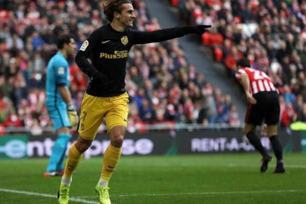 Antoine Griezmann esulta dopo la rete del 2-2 all'Athletic Bilbao (Fonte foto: Goal.com)