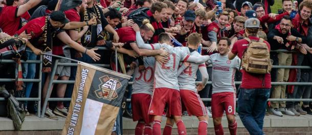 Atlanta's players and fans celebrate during their preseason win over Chattanooga FC (Source: atlutd.com)