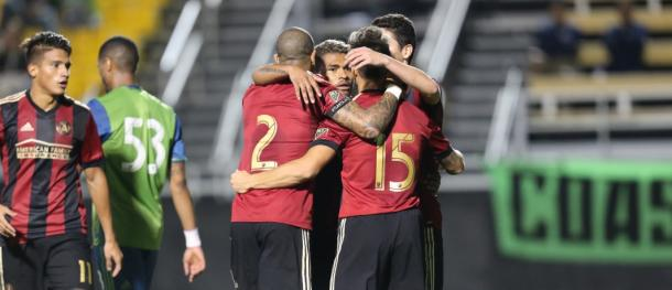 Atlanta celebrate a 4-2 win over a Seattle side consisting on mainly reserves in preseason. (Source: ATLUTD.com)