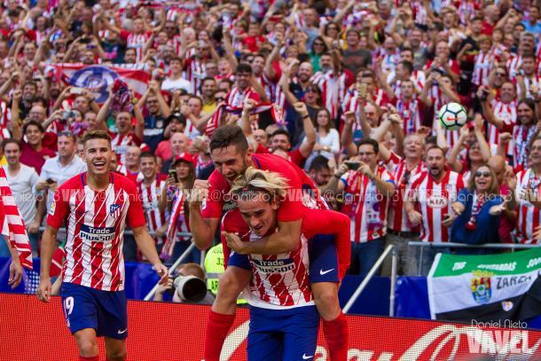 Koke celebrando un gol con Griezmann | Foto: Daniel Nieto (VAVEL)