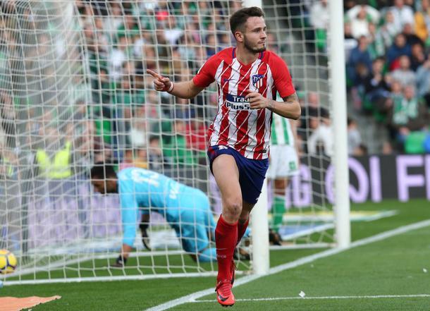 Saúl celebra el gol que le dio la victoria en el Villamarín. Fuente: atleticodemadrid.com