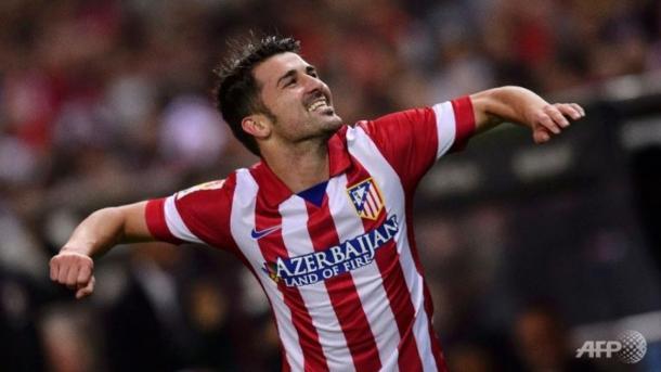 David Villa celebra un gol con el Atleti. Foto: AFP