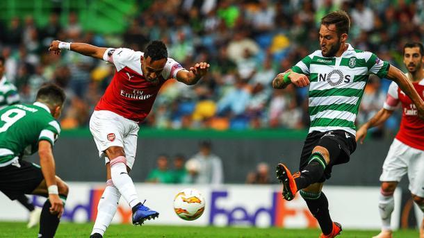 Aubameyang en el partido ante el Sporting de Portugal | Fotografía: Arsenal