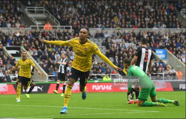 Pierre-Emerick Aubameyang wheels away after putting Arsenal ahead