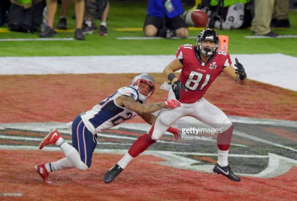 Austin Hooper's rookie season was capped off with an impressive touchdown catch in Super Bowl LI. (Source: Focus On Sport/Getty Images)