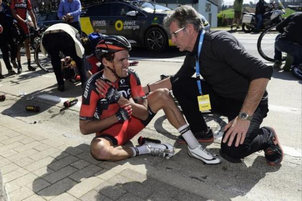 Una caída frustró las opciones de victoria de Van Avermaet en Flandes   Foto: Bettini Photo