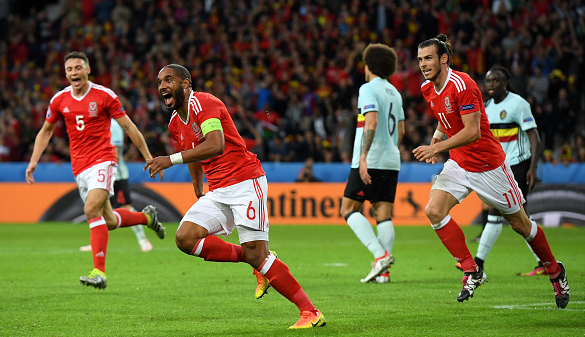 Williams celebrates his well-taken header, exposing Belgium's defensive frailties from set-pieces. | Photo: Getty