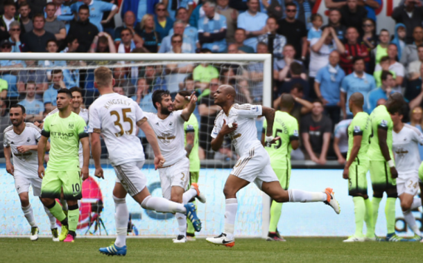 Ayew netted against Manchester City in the Swans' final fixture of last season. | Photo: Getty