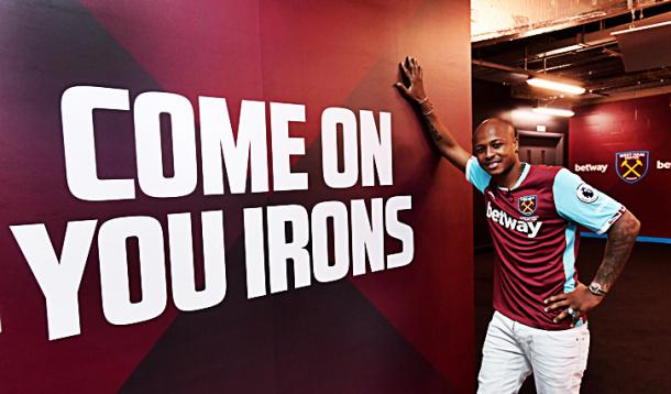 André Ayew poses as he is unveiled at West Ham. | Image source: West Ham United