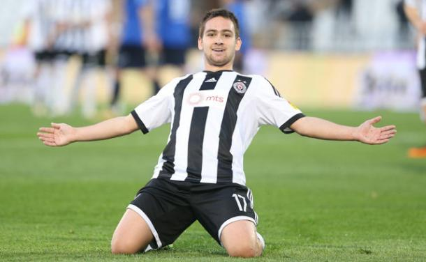 Zivkovic dopo un gol con il Partizan. | Foto: inter-news.it