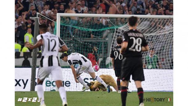 Momento en el que Álvaro Morata hace el gol de la victoria.   Foto: juventus.com