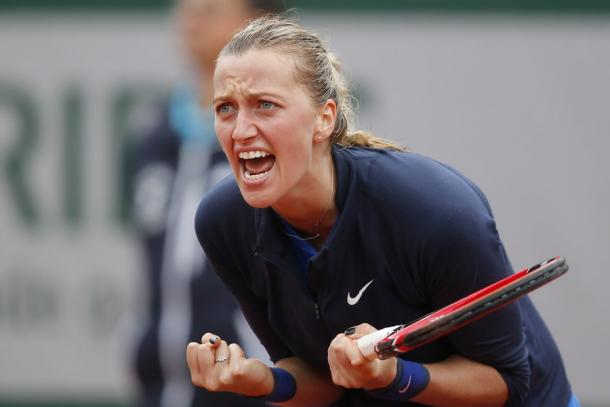 Petra reacts to a point during her first round match against Danka Kovinic at the 2016 French Open/AP/Michel Euler