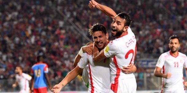 Esultanza dei giocatori della Tunisia