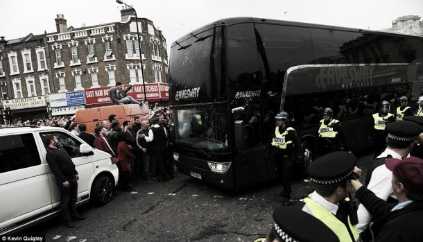 Above: Manchester United's first-team coach been attacked on it's way into the Boleyn Ground ahead of their 3-2 defeat to West Ham United | Photo: Kevin Quigley