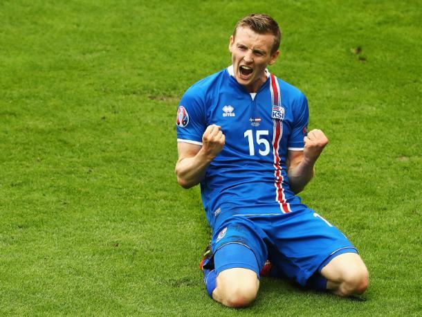 Jón Dadi Bödvarsson after scoring at Euro 2016 | Photo: Kicker/Getty