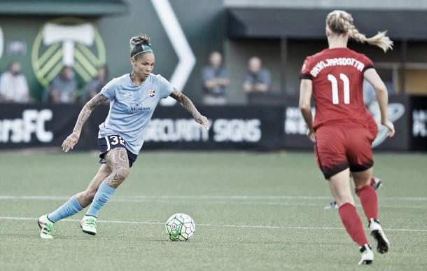 Tasha Kai in action earlier this season against the Portland Thorns | Source: Craig Mitchelldyer - ISI Photos