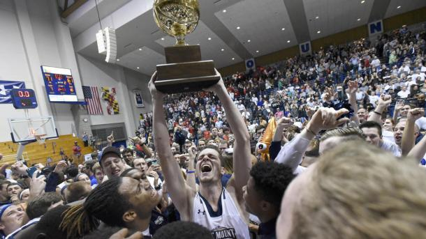 Mount St. Mary's celebrates after winning the Northeast Conference title/Photo: Steve Ruark/Associated Press