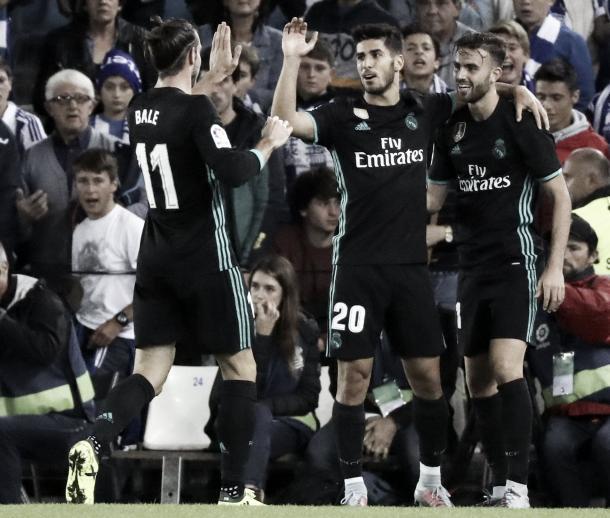 Bale, Asensio y Mayoral después de marcar en Anoeta ante la Real Sociedad I Foto: Real Madrid