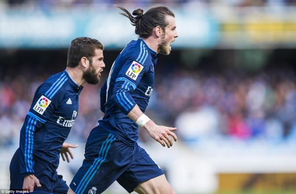 Bale celebrates his winner at the weekend - will he score tonight? (photo: Getty Images)