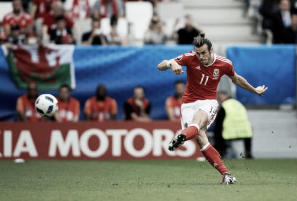 Bale's first international goal also came from a direct free kick against Slovakia. Source:FourFourTwo