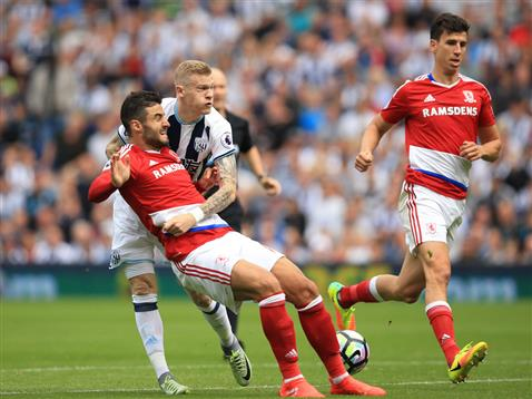 Barragan (L) and Ayala (R) combine to stop a dangerous James McClean run | Photo: Middlesbrough FC