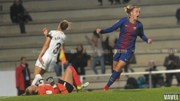 Bárbara celebrando uno de sus cuatro goles / Foto: Ernesto Aradilla (VAVEL.com)