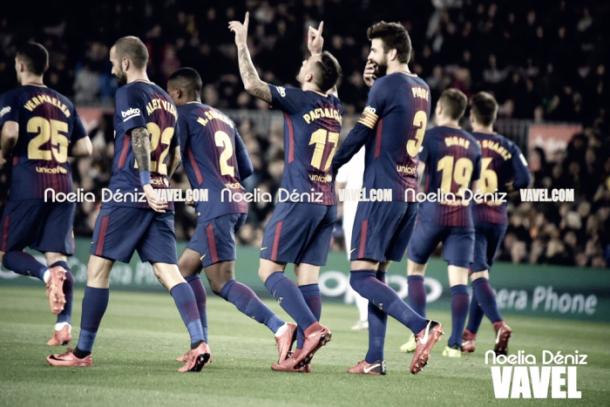 El conjunto blaugrana celebra un gol | Foto: Noelia Deniz (VAVEL ESpaña)