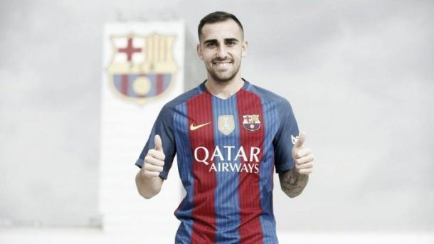 Paco Alcácer en su presentación. Imagen: FC Barcelona