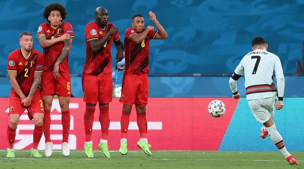 La selección belga en el partido contra Portugal /Foto: UEFA.com