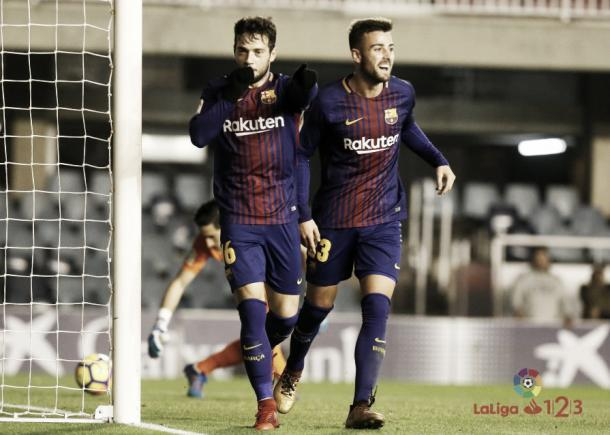 Celebración del gol azulgrana ante el Sporting | Fuente: LaLiga