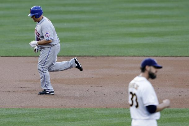 Bartolo Colon relishes the moment of his first career home run (Gregory Bull/AP Photo)