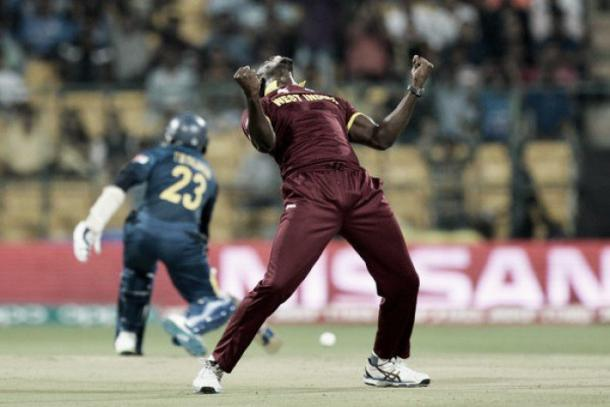 West Indian Bravo celebrates a wicket against Sri Lanka (photo: getty)