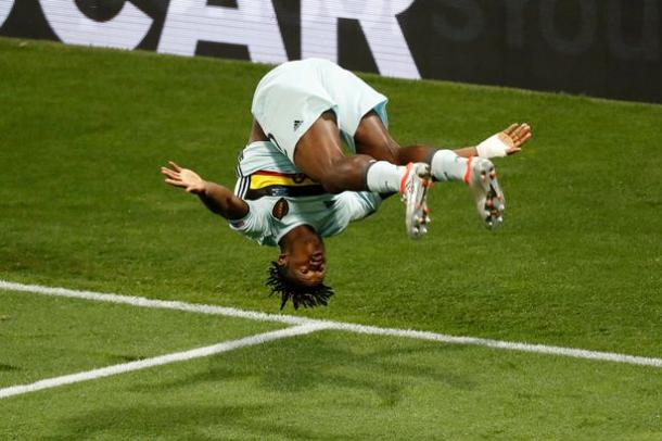 Batshuayi celebrates scoring from Hazard's cross against Hungary, during Euro 2016. (Source: Reuters)