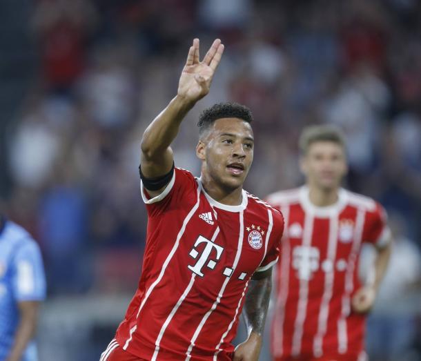 Tolisso celebrando su gol en el último encuentro entre ambos equipos en campo del Bayern | Foto: @FCBayernEN