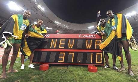 O time da Jamaica que venceu o 4 x 100 metros (Foto: Getty Images)
