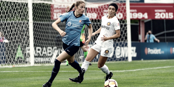 Janine Beckie and Sky Blue, unable to find first win of the season against Utah (Photo via skybluefc.com)