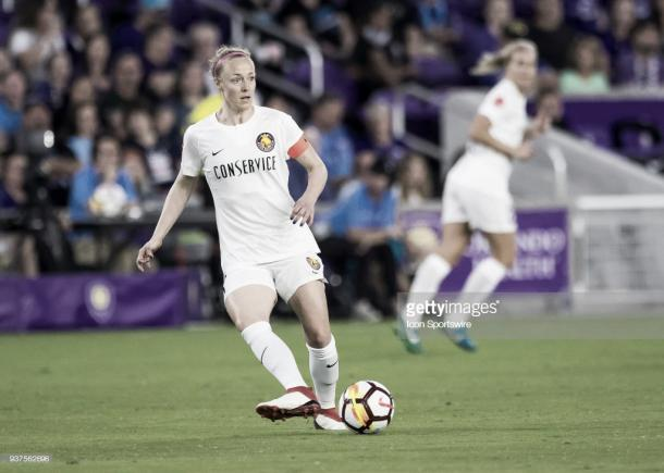 Becky Sauerbrunn will lead the league's best defense into Portland on Friday (Photo by Andrew Bershaw/Icon Sportswire via Getty Images)